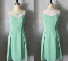 PETIT JARDIN - SAGE Mint green dress with white lace neckline // retro // vintage inspired // pleated skirt // bridesmaid dress // garden. $74.00, via Etsy.