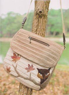 PDF Pattern Tutorial Fox Shoulder bag handbag purse sewing embroidery quilt hand made