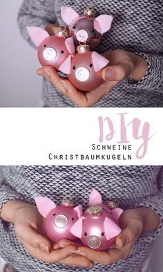 DIY // Pigs Christmas baubles + Sweepstakes - New Deko Sites Christmas Tree Baubles, Noel Christmas, Diy Christmas Gifts, Xmas, Christmas Gadgets, Pig Crafts, Diy And Crafts, Crafts For Kids, Tree Decorations