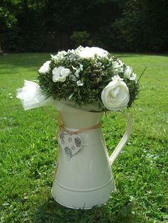 7 Cream enamel Jugs with silk & dried flowers - Ideal wedding center pieces Centrepieces, Wedding Centerpieces, Wedding Table, Fall Wedding, Our Wedding, Tea Party Baby Shower, Baby Boy Shower, Wedding Stuff, Wedding Flowers