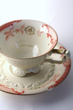 1924-1946 Vintage Orange & Gold German Tea Cup Set.