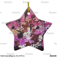Pink Camouflage Ceramic Ornament