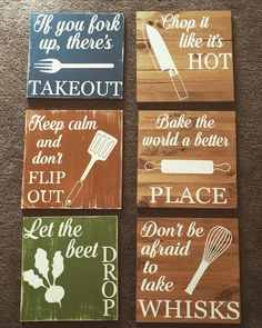 Chop it like it's hot, funny kitchen signs, kitchen decor, rustic decor, distressed signs, rustic kitchen decor, wooden signs (Set of four) by BeallDesigns on Etsy https://www.etsy.com/listing/279914272/chop-it-like-its-hot-funny-kitchen-signs