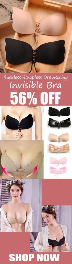 Women Silicone Adhesive Stick on Gel Push-Up Bras Backless Strapless Drawstring Corset Invisible Bra