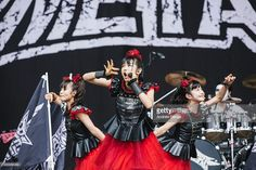 Moametal, Su-metal and Yuimetal of Babymetal perform on the main stage during day 3 of Leeds Festival at Bramham Park on August 30, 2015 in Leeds, England.