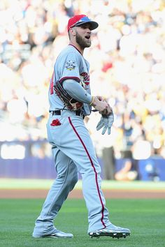 #Allstar2016 Bryce Harper of the Washington Nationals reacts during the 87th Annual MLB AllStar Game at PETCO Park on July 12 2016 in San Diego California
