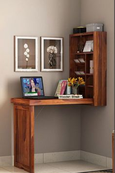 A minimalist and modern design, this study table can easily fit in the corner of your room. Made with Sheesham wood, this table is mounted in the wall and can be unfolded easily whenever needed. Integrated with a well-segmented bookshelf, this space saving study table is perfect no matter you are creating a study corner for your kid or an efficient work from home space for yourself.  #studytable #moderndesign #workfromhome #studyroom