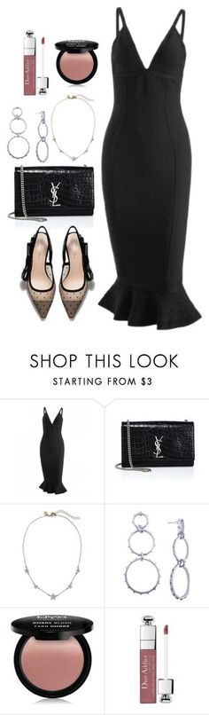 """Untitled #5474"" by theeuropeancloset ❤ liked on Polyvore featuring Yves Saint Laurent, NYX and Christian Dior"