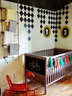 The munchkin wants a pink and blue room. I love the drippy checkers going on here.