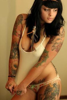 Naked women with naughty tattoos