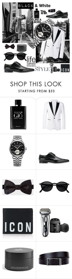 """B&W"" by stefano-criscione ❤ liked on Polyvore featuring Stockdale, Giorgio Armani, Dsquared2, Raymond Weil, Dolce&Gabbana, Paul Smith, Braun, Burberry, HUGO and men's fashion"