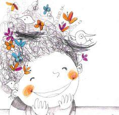 by Francesca Quatraro Art And Illustration, People Illustration, Little Girl Illustrations, Illustrations Posters, Whimsical Art, Doodle Art, Cute Art, Illustrators, Pop Art