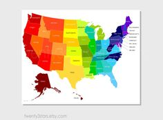 United States Map Art, Rainbow Art with Labeled US States, or Choose Your Own Colors, Playroom Nursery Digital Art Print