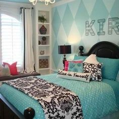 diamond shape accent wall teen girl room - Google Search