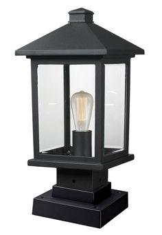 "View the Z-Lite 531PHMS-SQPM Portland 16.875"" Tall 1 Light Outdoor Lantern Pier Mount Light at LightingDirect.com."