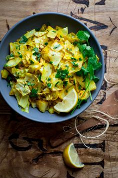 Curry Roasted Cabbage with lemon and cilantro. An easy low-carb and vegan side dish. Healthy Seasonal Recipes