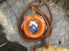 Vial pendant/ amethyst pendant/ wooden pendant/ by OKAVARKpendants