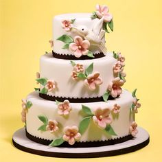 Pink Wedding Cake with Hummingbird and Hand Painted  Flowers |