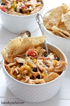 Hearty slow cooker black bean taco chili recipe from @bakedbyrachel