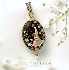 RESERVED for Ka Wai Chung. A set of three 'Mother' pendants. Beautiful handmade polymer clay pendant. Made to order family heirloom