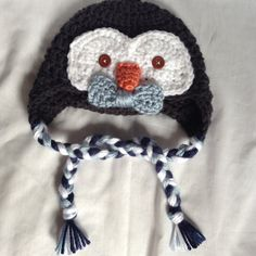 Crochet Baby Boy Penguin Hat  Toddler Winter by HookYarnAndHooper