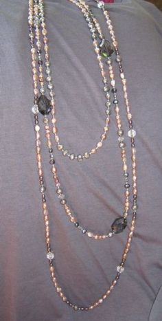 Pearl and crystal necklaces made in different lengths
