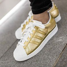 This glamourous Adidas Superstar W is now available at @tint.footwear.studio who sent us this pic. #adidas #superstar #gold