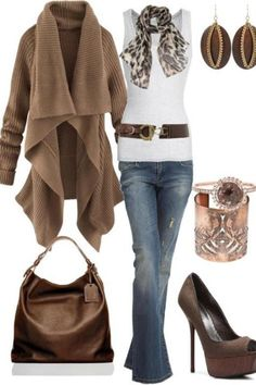 This looks super cozy for fall, but I would change the heels out for something more comfy, at least on this outfit