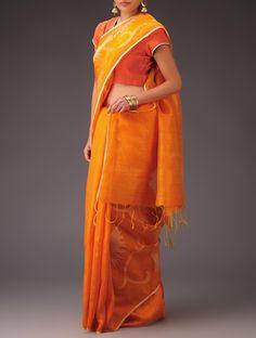 Buy Orange Ecru Matka Silk Jamdani Half and Saree Sarees Woven Online at Jaypore.com