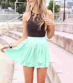 Perfect spring/ summer outfit for a teen. I love the skater skirt and lace tank top.Could be dressy, or casual! Looks super cute and diverse for holidays or wear to lunch with friends.