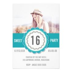 Teal Lace Photo Sweet 16 Birthday Party Invite
