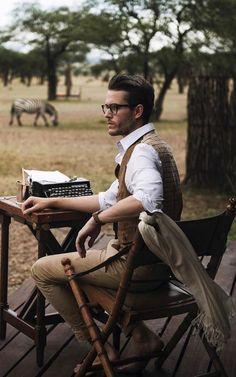 Writer -Adam Gallagher via Menstylica Adam Gallagher, Foto Fashion, Mens Fashion, Safari Outfits, Safari Clothes, Safari Chic, Look Man, Stylish Mens Outfits, Hipster Man