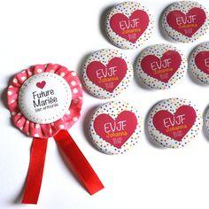 Pour la Mariée KIT02 Cadeaux /// EVJF / 1 cocarde Future Mariée + 6 badges invitées