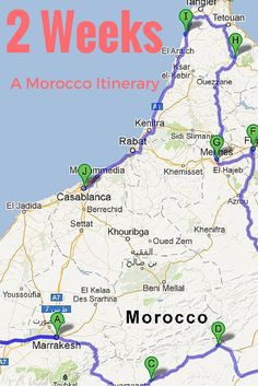 Headed to #Morocco? This suggested 2-week itinerary shows the highlights!  Full itinerary at http://thegirlandglobe.com/a-suggested-two-week-itinerary-for-morocco/   Marrakech, Essaouria, Ait Ben Haddou, Todra Gorge, Dades Valley, Sahara Desert (Merzouga Dunes), Fes, Rabat, Meknes, Chefchaouen, Asilah, Casablanca #travel