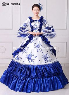 df9a81eaf2d0 Brand New Blue Lace Printed Marie Antoinette Masquerade Ball Gown Medieval Southern  Rococo Belle Dress Theatrical Clothing