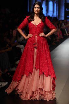 Buy Sequin embroidered asymmetric kurta with layered lehenga by Anushree Reddy at Aza Fashions Lehnga Dress, Nikkah Dress, Lehenga Choli, Anarkali, Sharara, Half Saree Designs, Lehenga Designs, Indian Wedding Outfits, Indian Outfits