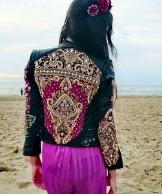 Leather Jacket Embroidery Embellished mirrored boho ethnic Tribal