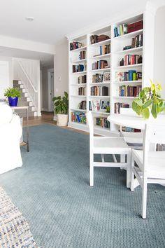 Lake House family room blue and white decor