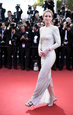 "Emily Blunt in Stella McCartney at the Cannes Film Festival premiere of ""Sicario."" (Photo: Franck Robichon/European Pressphoto Agency)"
