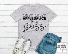 Cute Shirts, Kids Shirts, T Shirts For Women, Teacher Outfits, Teacher Clothes, Nurse Gifts, Grey Shirt, Funny Design, Criss Cross