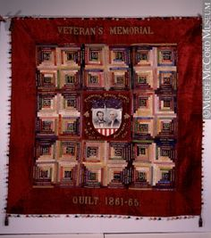 Veteran's Memorial Quilt, dated McCord Museum. Old Quilts, Antique Quilts, Small Quilts, Vintage Quilts, Primitive Quilts, Primitive Antiques, Log Cabin Quilts, Log Cabins, Pineapple Quilt