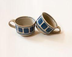 2 Vintage Modern Stoneware mugs with blue by lastprizevintage