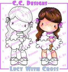 C.C. Designs Swiss Pixie Lucy With Cross Rubber Stamp