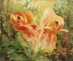 Золотые рыбки. Картина маслом.
