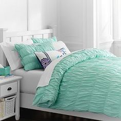 Girls Dorm Duvet Covers & Dorm Room Bedding for Girls Teen Girl Bedding, Dorm Room Bedding, Teen Girl Bedrooms, Teen Bedroom, Bedroom Decor, Aqua Bedding, Bedroom Ideas, Teen Bedding Sets, Blue Duvet