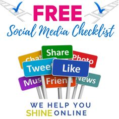 Sign Up For Your Free Social Media Checklist Do you need help with Social Media tasks? This tool will enable you to do the daily, weekly, and monthly social media tasks necessary. Download your FREE copy today!