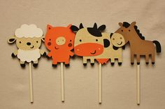 Handmade Farm Animal Cupcake Toppers – 12 Farm Animals: 3 each Pig, Cow, Sheep & Horse – Farm Birthday Party Theme – Kids Party Decoration