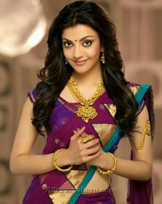 Kajal Aggarwal is an Indian film actress and model. Here are few pic's of Kajal in beautiful gold and diamond jewellery sets . Indian Film Actress, South Indian Actress, Indian Actresses, Most Beautiful Indian Actress, Beautiful Actresses, Kajal Agarwal Saree, Indiana, Saree Photoshoot, Fashion Designer