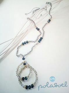 Crystal necklace, with iridescent grey smoky(dark and light) crystals,with gold plated elements and macrame claps. by polasoeljewelry on Etsy Black Crystals, Crystal Necklace, Light In The Dark, Iridescent, Macrame, Great Gifts, Necklaces, Grey, Gray