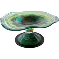 Richard Rooze, Unique Glass Dish on Stand, inspired on Millais painting 'Ophelia'. Offered by Oljos Glass Concepts on RubyLUX.